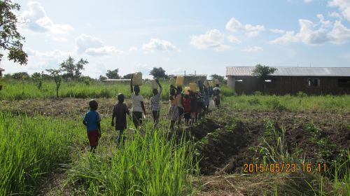 The daily walk to the water hole to collect dirty water.